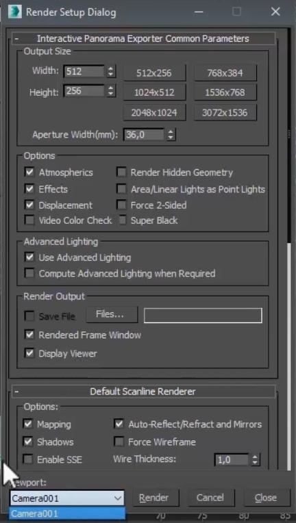 Si estás renderizando con algún motor, como V Ray, en esta ventana también tendrás que configurar sus funciones.