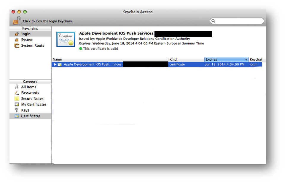 Installing the generated certificate into the Keychain Access application