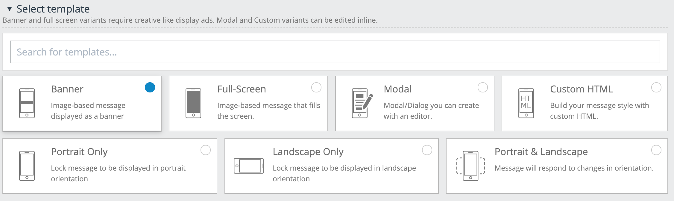 In-app banner style orientation options.