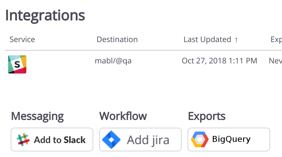 "Click the ""BigQuery"" button under `Settings > Integrations` to get started."