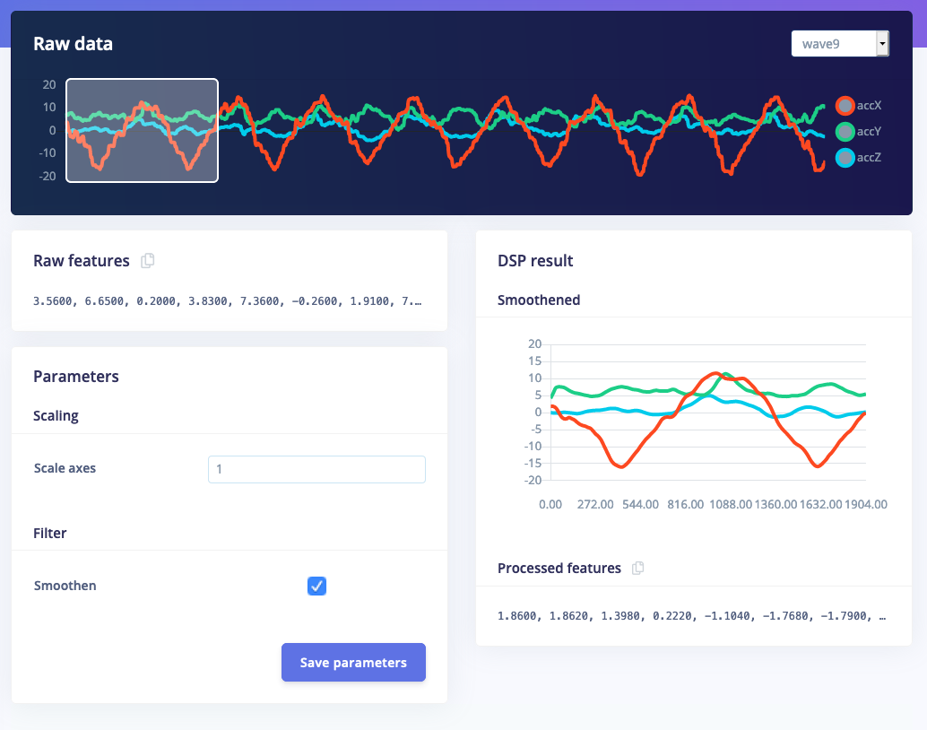 """Custom processing block with a """"smooth"""" option that shows a graph of the processed features."""