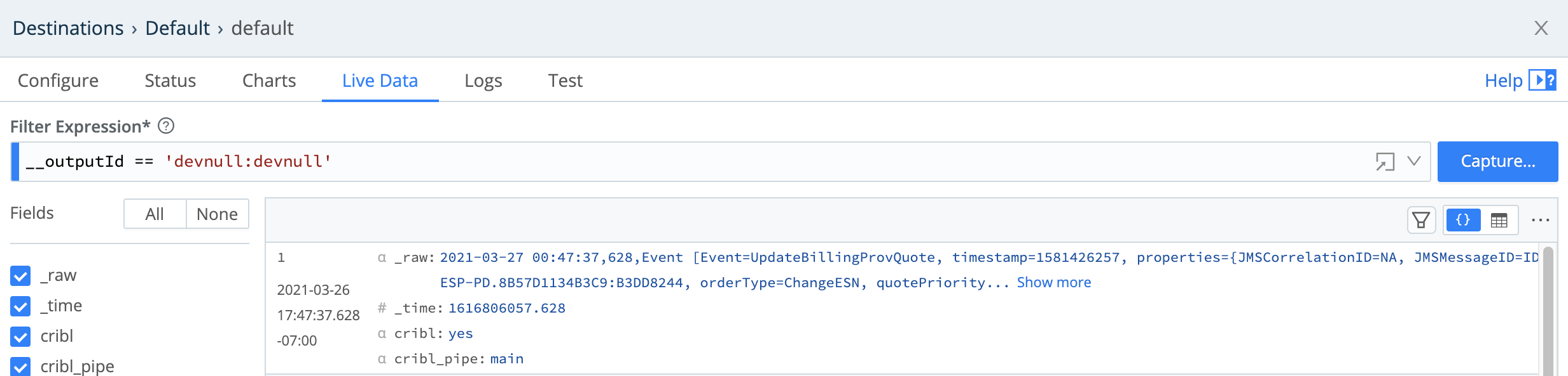Destination modal > Live Data tab