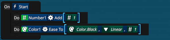"""'Do' can be used to run operations on variables. Here 1 is added to the Number1 variable  The second line shows using the """"Ease To"""" operation to change a color variable over time. This can be run just once to have it slowly turn color to black."""