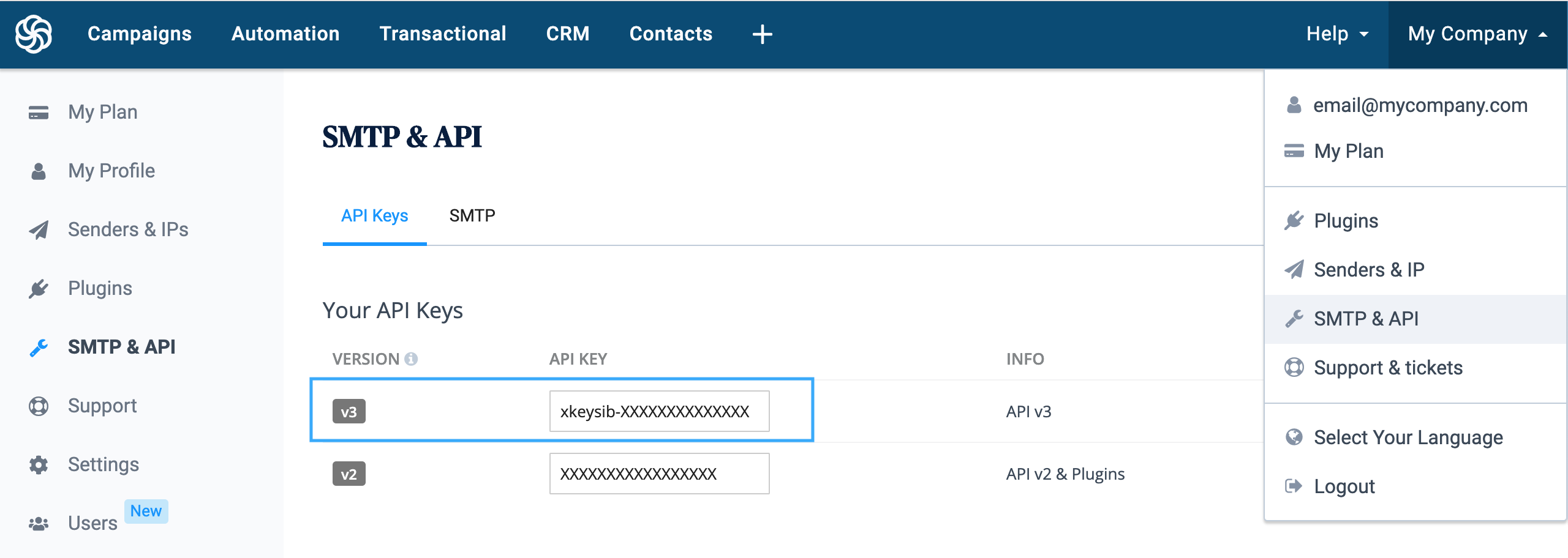 Where to find Sendinblue API v3 key in your settings.