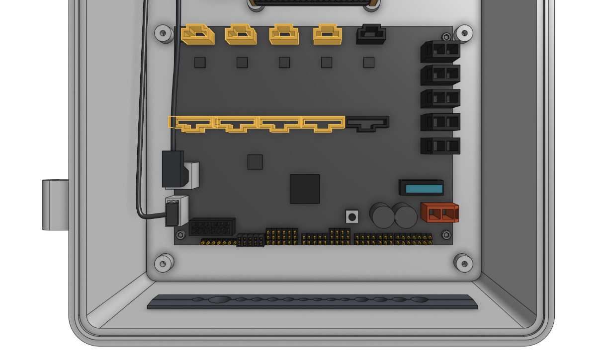 The motor and encoder connectors are highlighted in orange