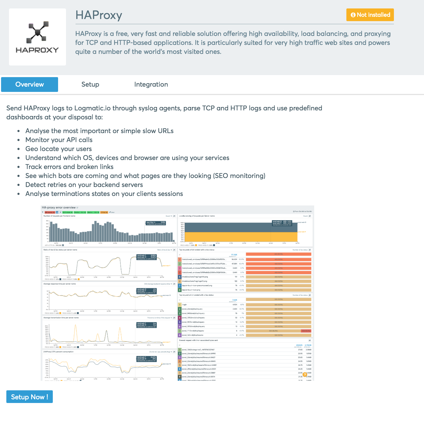 The HAProxy integration page