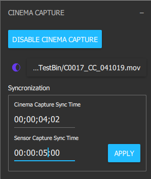 Paste the time-code from your videos into the Synchronization panel.
