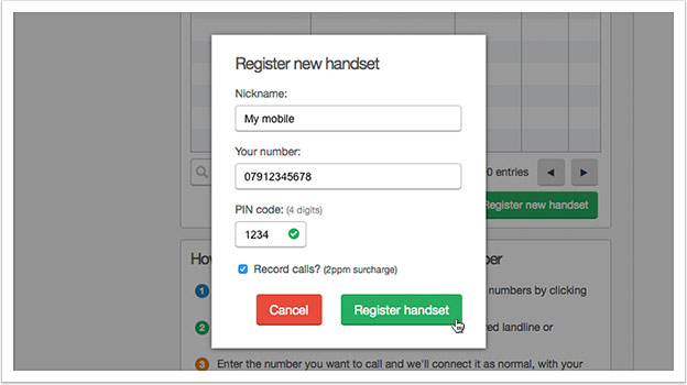 Below the table, click the `Register new handset`