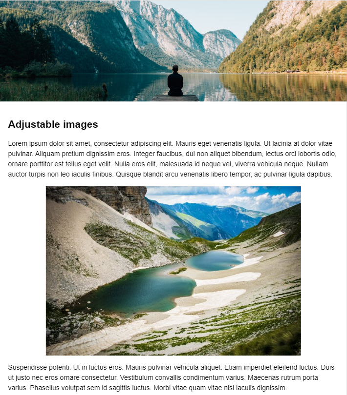 A simple website containing a header image and a content image.
