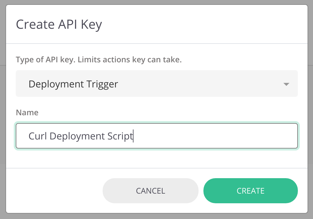 Create new keys from the `Create API Key` button