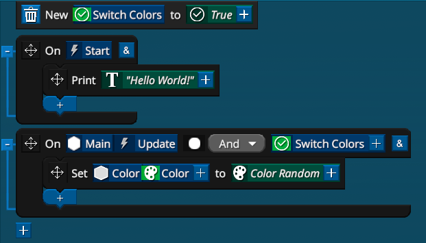 A Event line is added for the 'Start' event - printing 'Hello World' to the screen.  A new variable 'SwitchColors' is added, with default value 'True'. Here the Entity's Color will be set a random color every Update if 'SwitchColors' is True