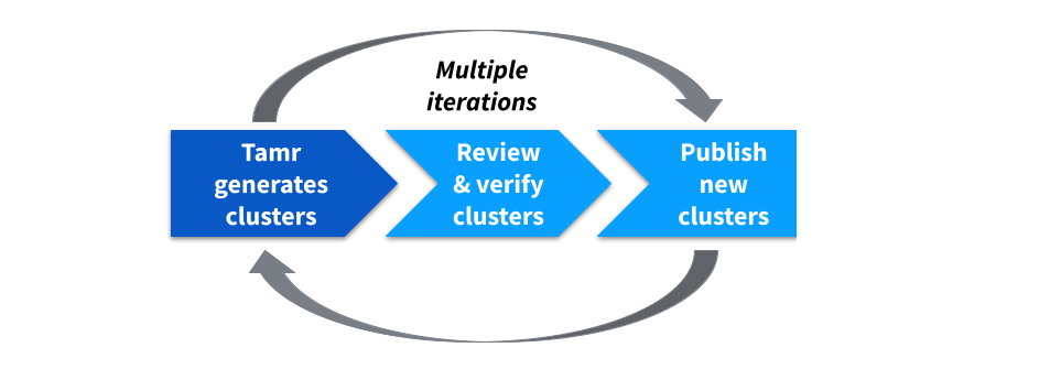 The iterative review and curation of important clusters allows Tamr to accurately and automatically cluster records into distinct entities. The process of data mastering. Step 1 is a darker shade of blue to indicate that Tamr completes this step.
