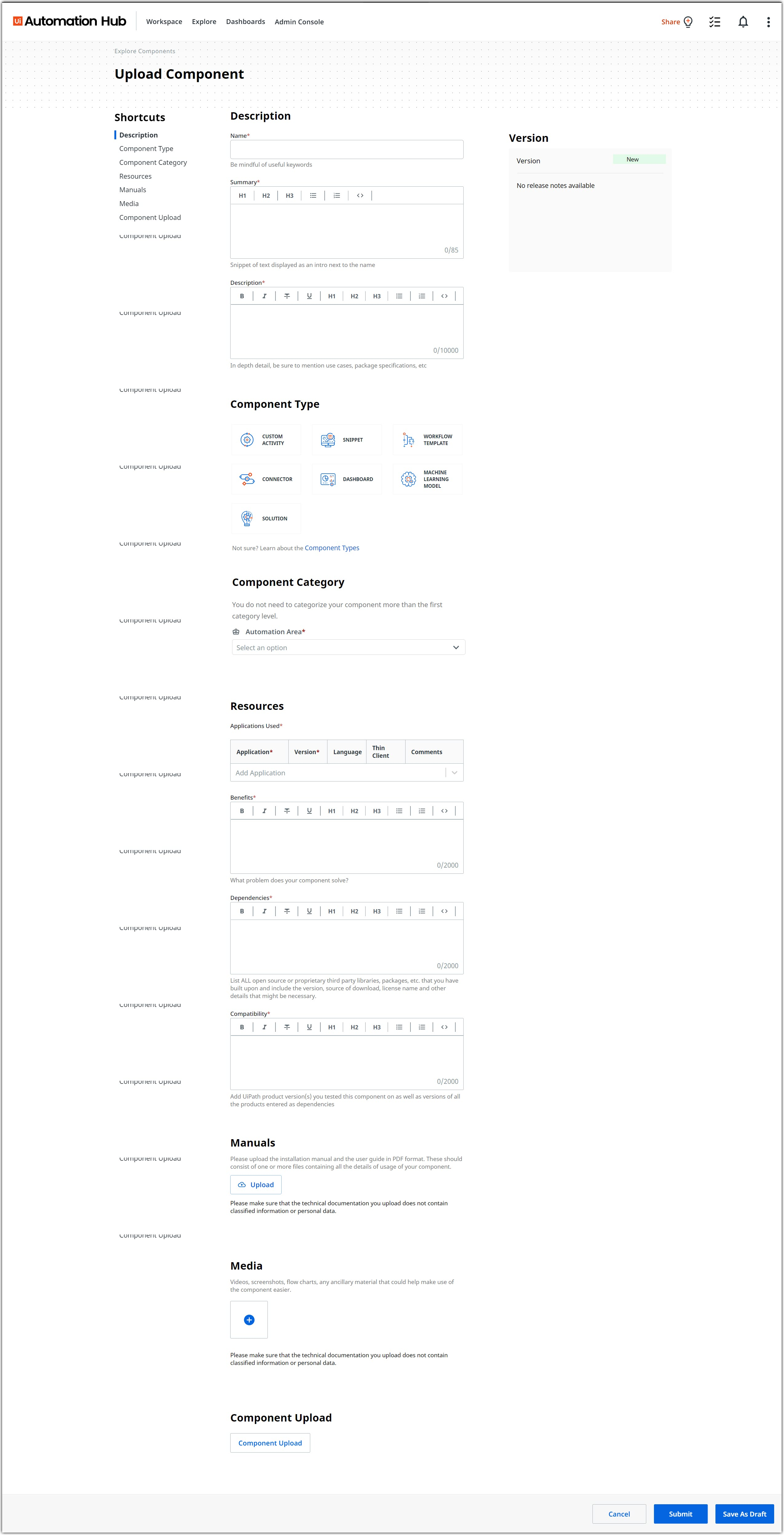 Upload a component page