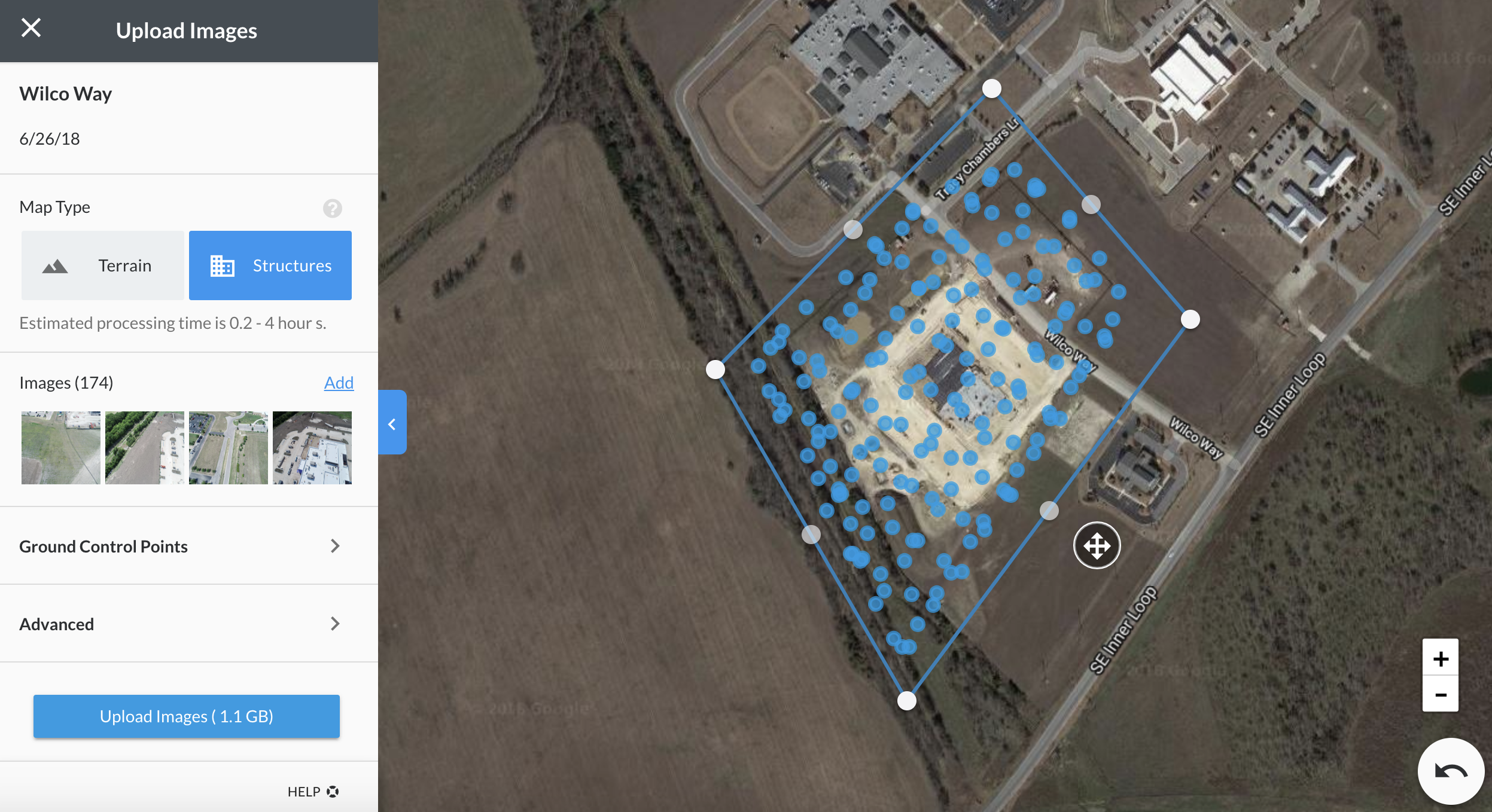 The blue dots represent the camera locations, the bounding box represents the crop boundary for the map.
