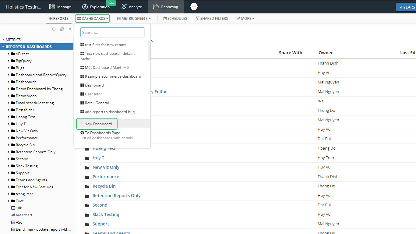 Select 'New Dashboard' from Dashboard tab