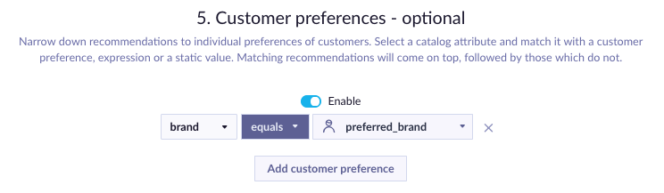 Example of Customer Preferences picker reordering recommendations based on customer's preferred brand.