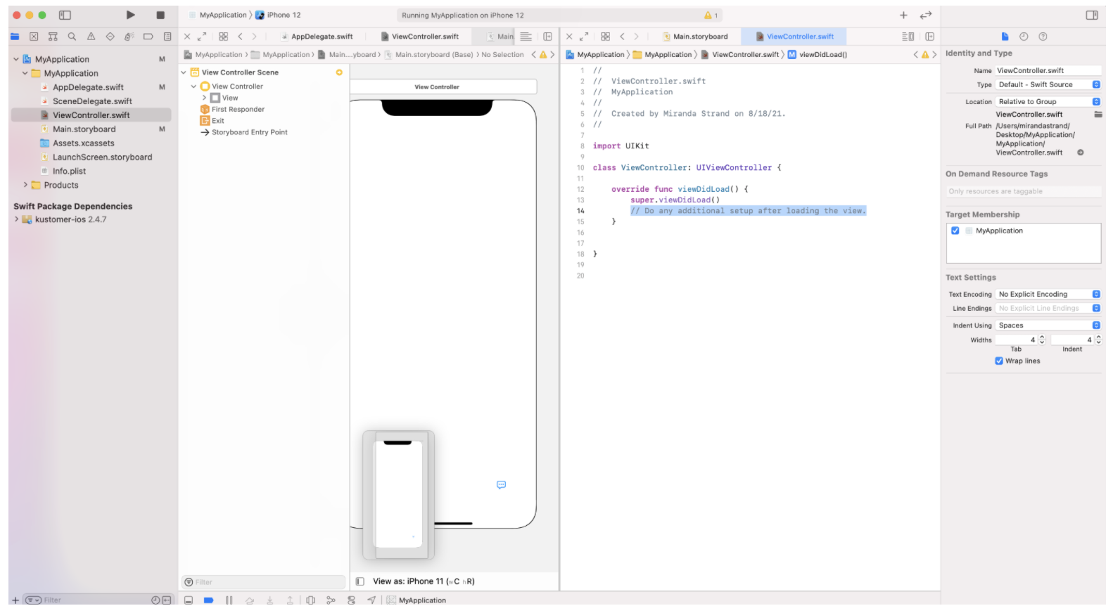 Side by side view of ViewController.swift and Main.storyboard.