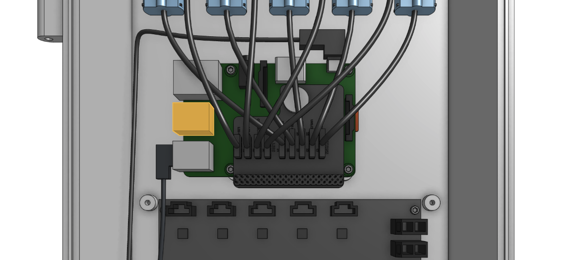 The USB port on the Raspberry Pi is highlighted in orange