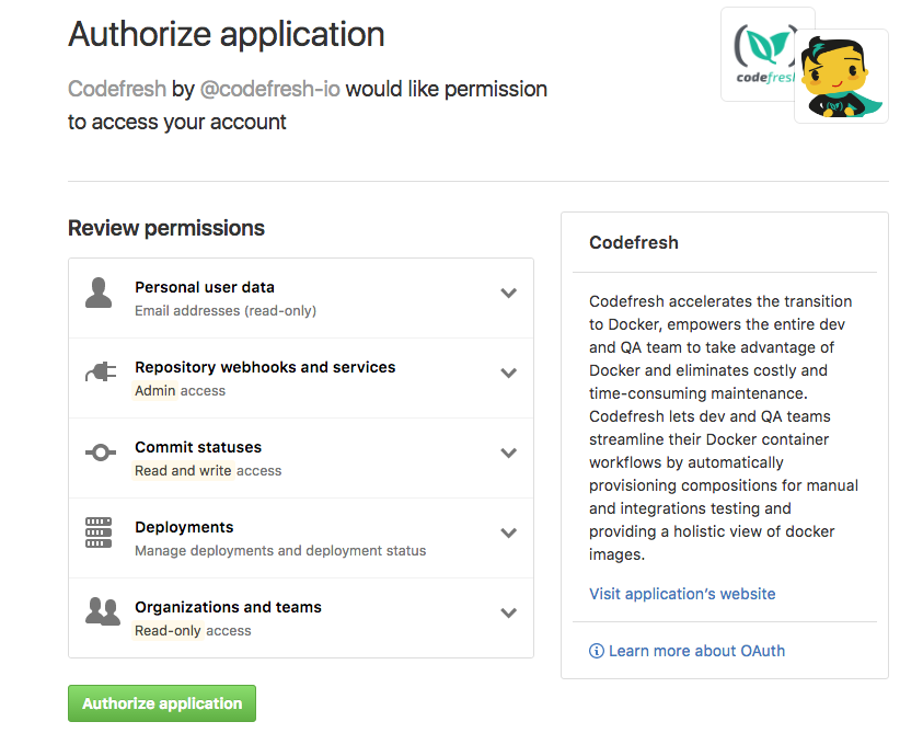 Github authorization page (click image to enlarge)