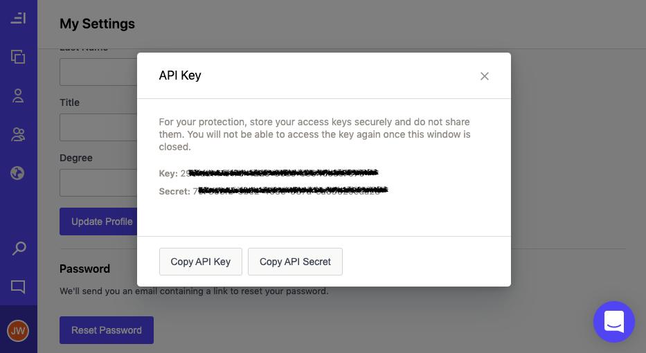 Copy your key/secret