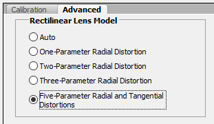 Set lens model to Five-Parameter Radial and Tangential Distortion