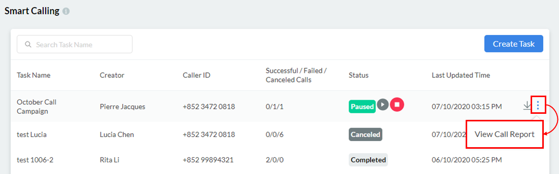 View Call Task Report
