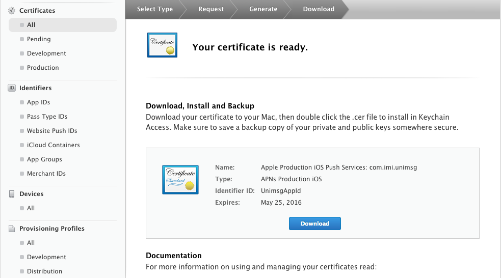 Certificate created