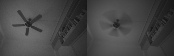 Figure 4. Same scene captured with high gain and short exposure (left) vs low gain and longer exposure (right). This scene was captured with the global shutter imagers of the D435, so there are no additional rolling shutter artefacts of the fan.