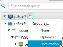 """Aller dans Group By depuis l'icône à droite du menu """"ceBox®"""""""