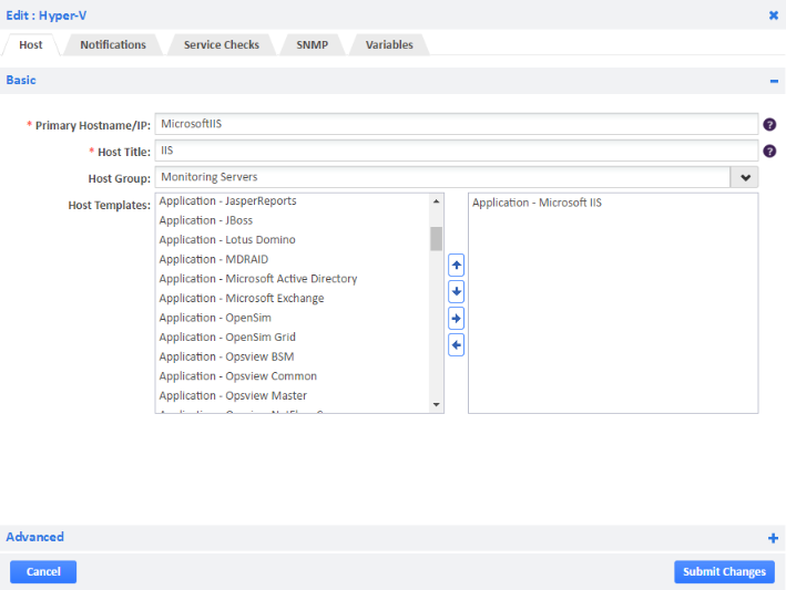 Example of Adding Microsoft IIS Host Template