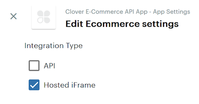 Screenshot of UI which shows the options for various ECommerce integrations - Hosted iFrame vs the API