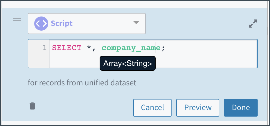 Tamr shows you that the data type of the company_name attribute is array[string]