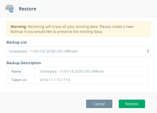Step 2: Select a backup from the Backup List to restore