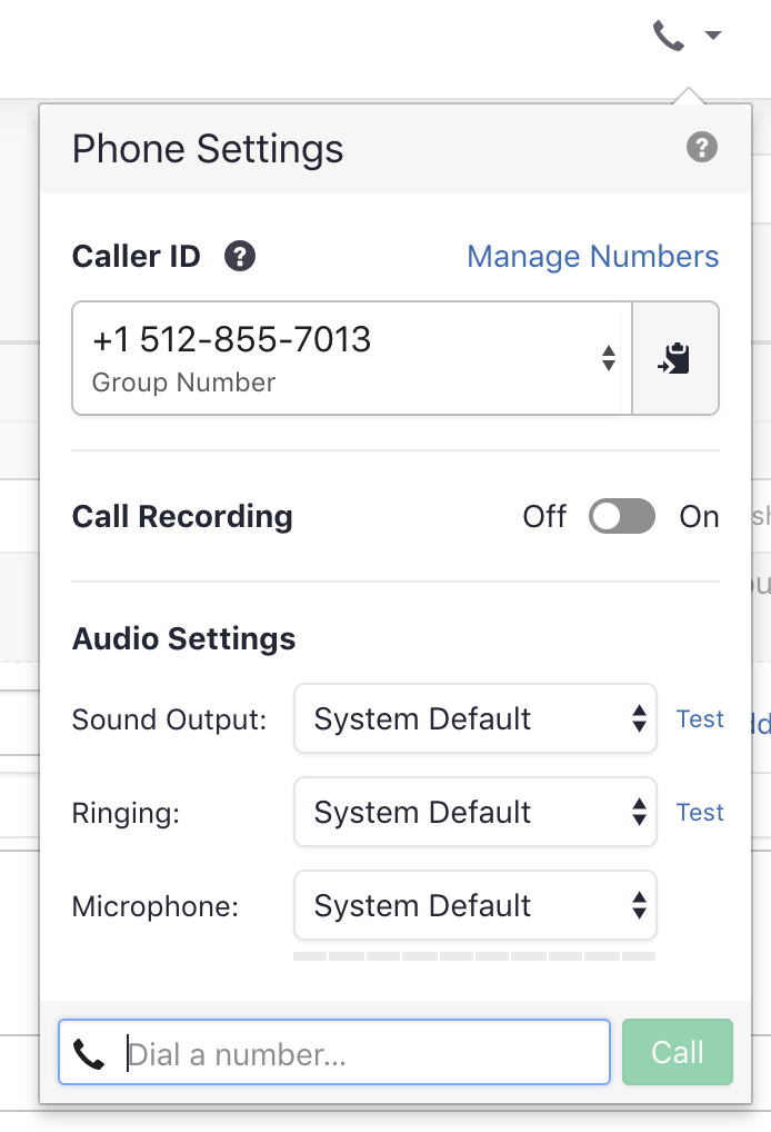 Select the correct sound, ringing output, and microphone in the phone popover.