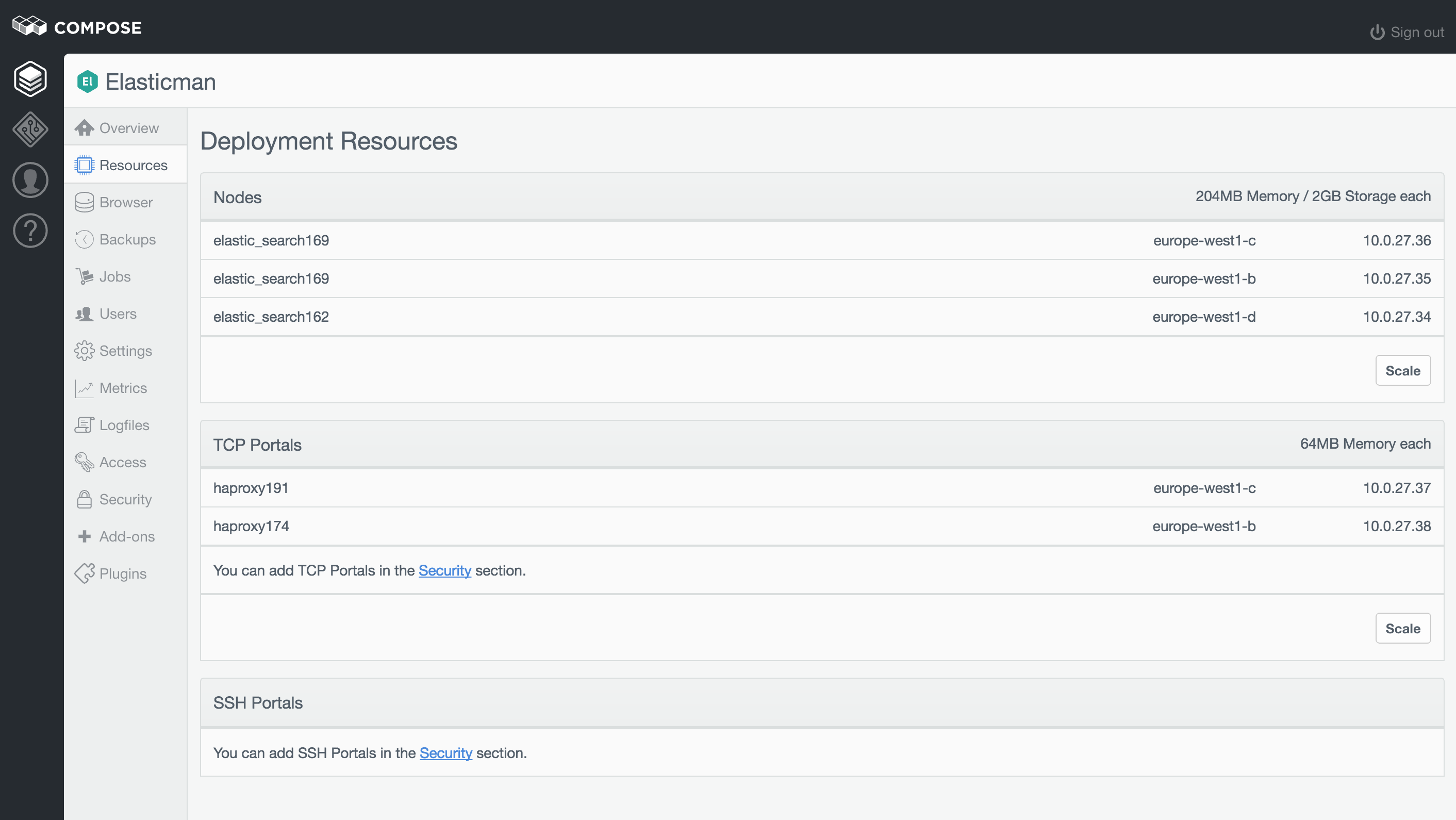 A view of a deployment's resources, specifically Elasticsearch.
