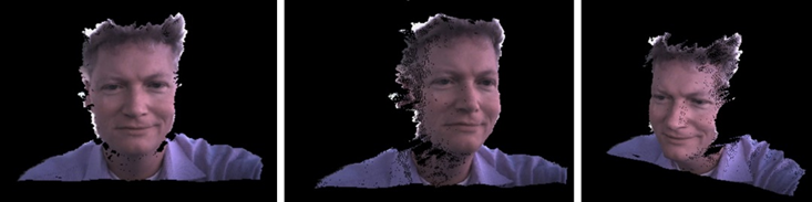 Figure 4. A 3D-Selfie. The single photo was taken outside in full sunlight with a Depth Camera and is shown as a textured 3D point-cloud that is rotated to different views. Note that the true dimensions of the face are captured. In this picture anything beyond 0.6m was left out. For true Background Segmentation a more complex algorithm would be used that would yield cleaner edges and would use both RGB and Depth information.