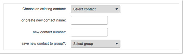 Either select an existing contact or create a new one