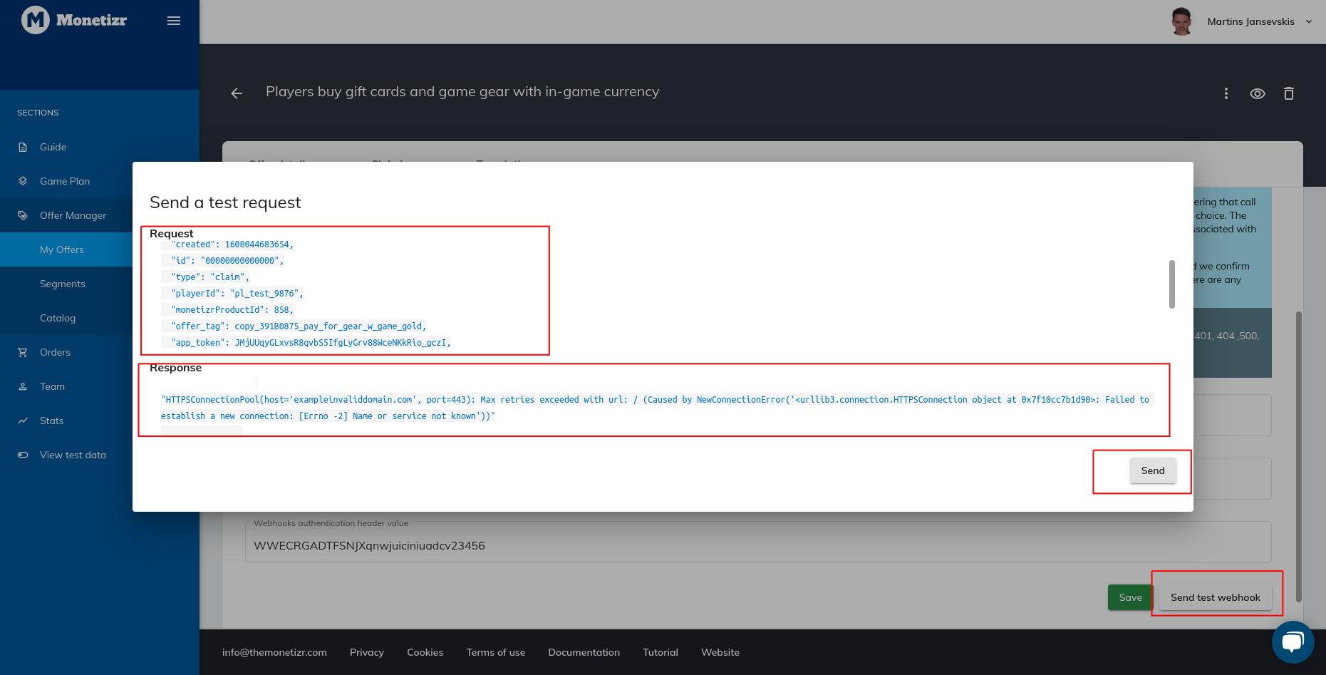 Sending a test webhook request