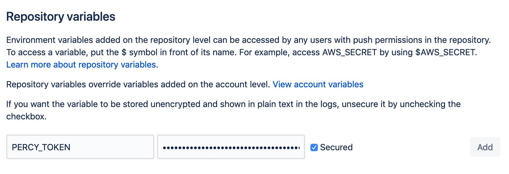 Bitbucket Pipelines' Repository variable settings