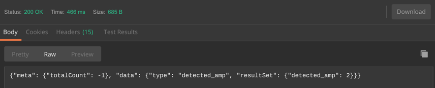 """Sample Output (truncated screenshot, using the """"Raw"""" output option in Postman)"""