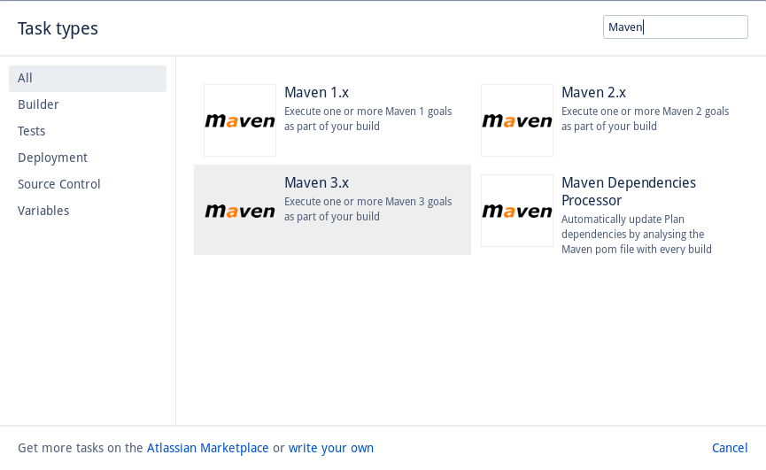 We've added the Maven 3.x task, which will be used to build our code and run tests