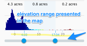 Adjust the range of the elevation presented using the handles at the bottom of the histogram.