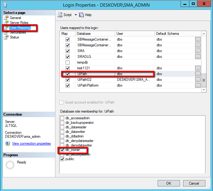 How to configure SQL server before installing UiPath