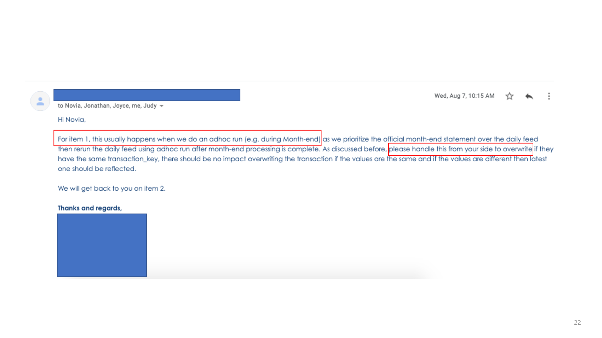 Email confirmation from the bank acknowledging duplicate transactions