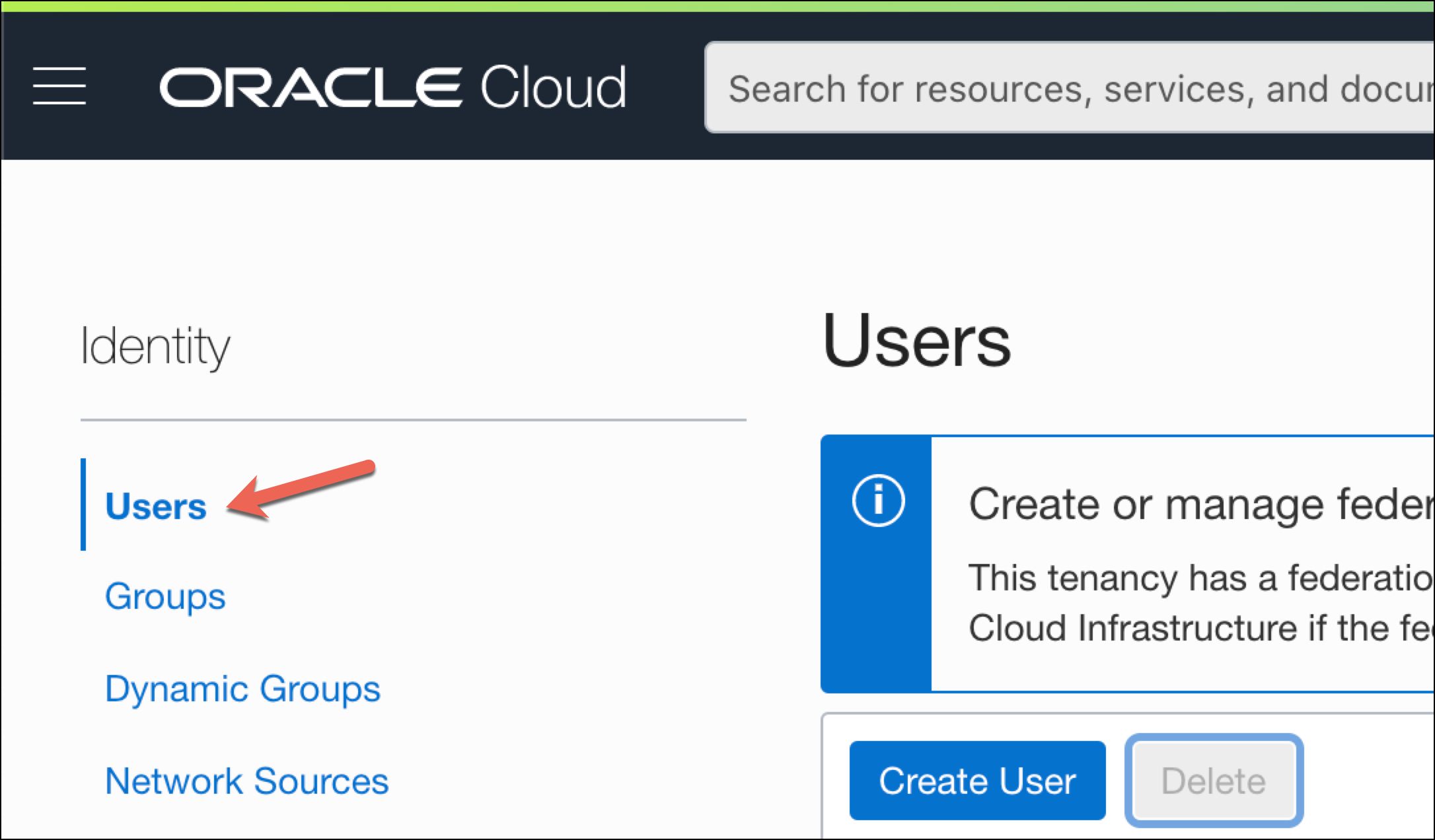 Oracle Console: Identity --> Users