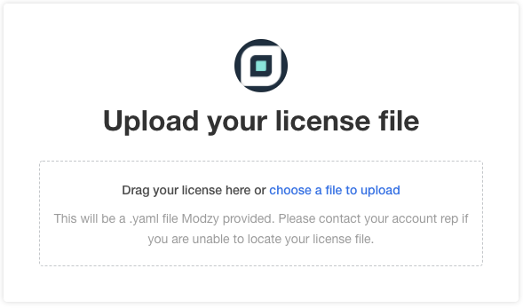 License upload screen