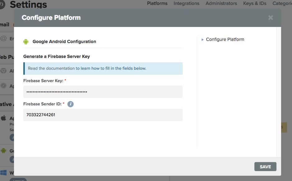 Generate a Firebase Server Key
