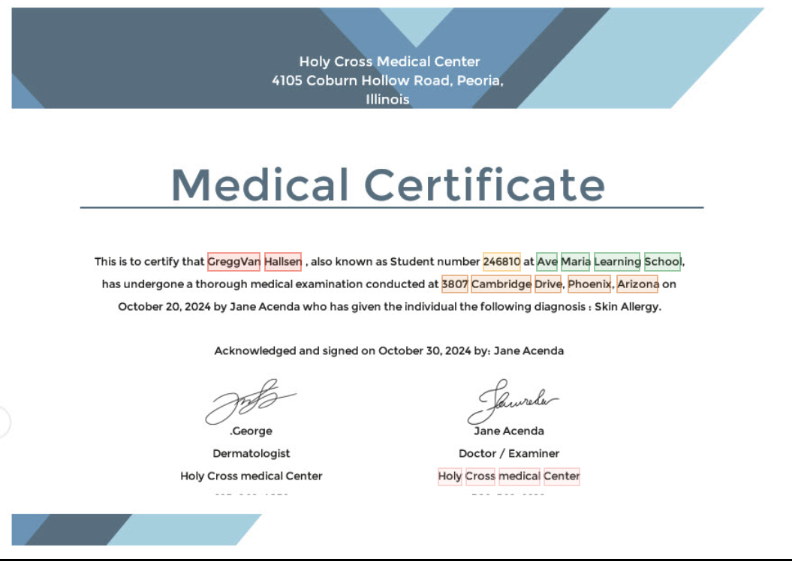 Medical certificate key data extraction
