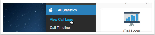 Click the 'View Call Logs' link in the left hand menu
