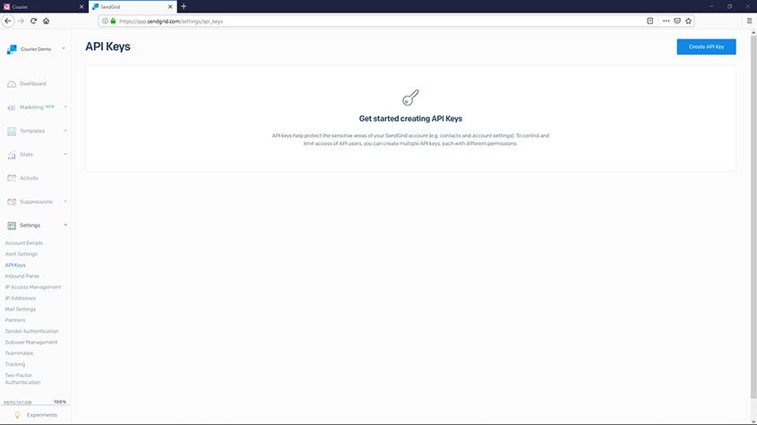 SendGrid API Key Page